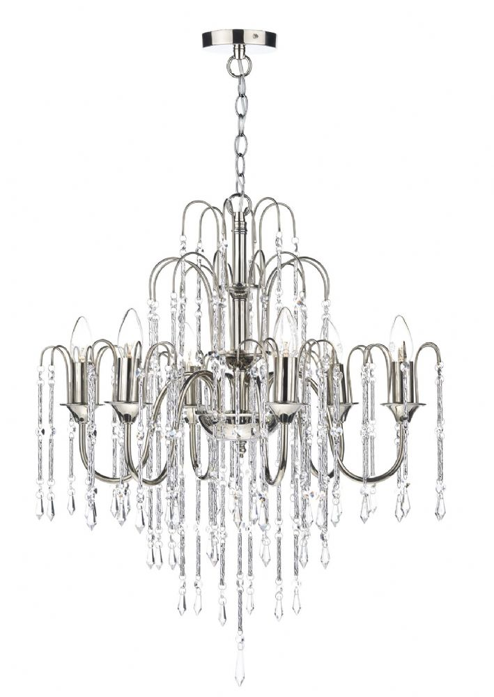 Dar Daniella 6 Light Pendant Dual Mount Polished Nickel DAN0638